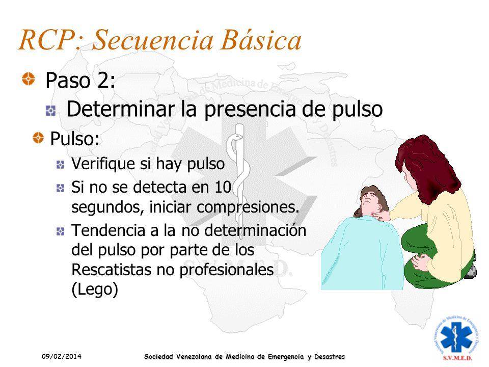 09/02/2014 Sociedad Venezolana de Medicina de Emergencia y Desastres Pulso: Verifique si hay pulso Si no se detecta en 10 segundos, iniciar compresion