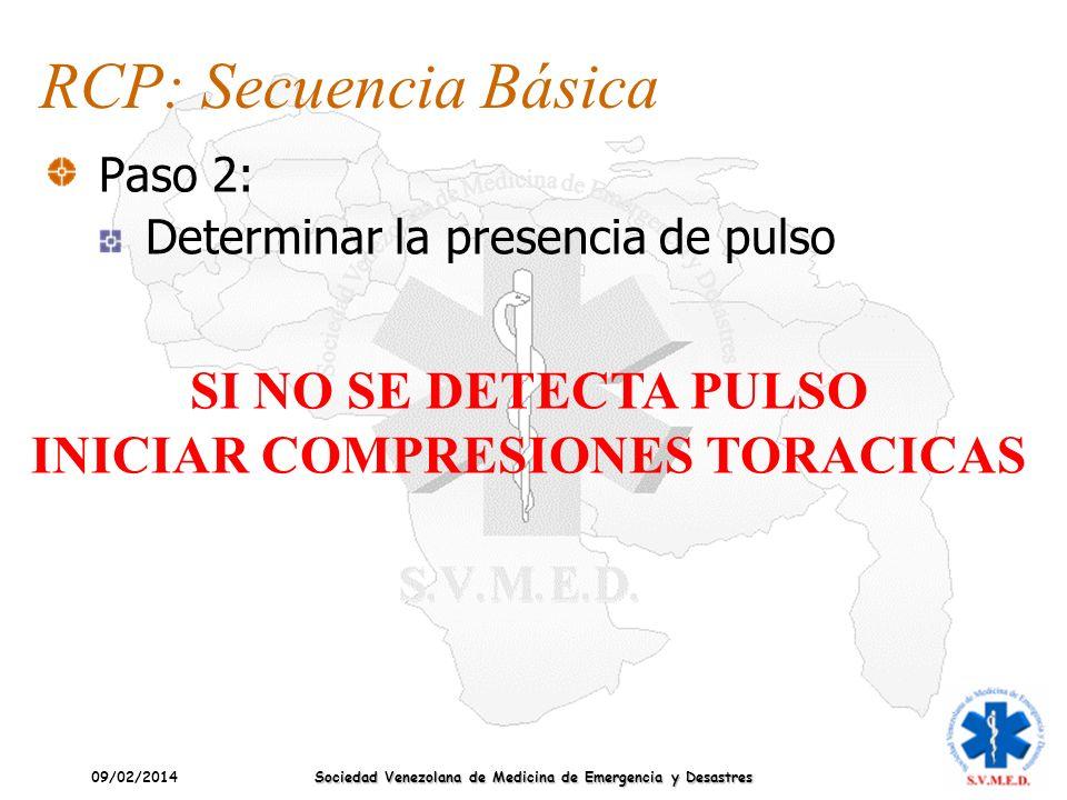 09/02/2014 Sociedad Venezolana de Medicina de Emergencia y Desastres RCP: Secuencia Básica Paso 2: Determinar la presencia de pulso SI NO SE DETECTA P