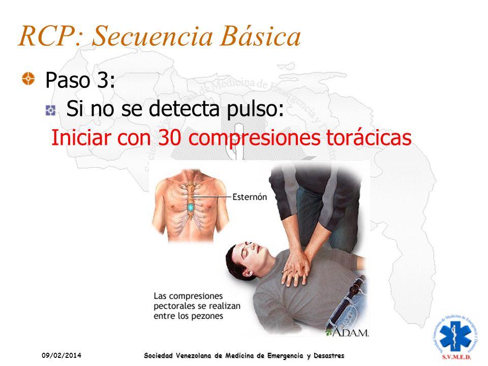 09/02/2014 Sociedad Venezolana de Medicina de Emergencia y Desastres RCP: Secuencia Básica Paso 3: Si no se detecta pulso: Iniciar con 30 compresiones