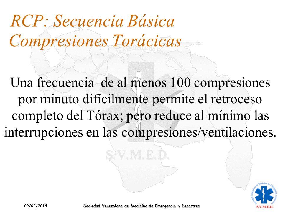 09/02/2014 Sociedad Venezolana de Medicina de Emergencia y Desastres Compresiones Torácicas RCP: Secuencia Básica Una frecuencia de al menos 100 compr