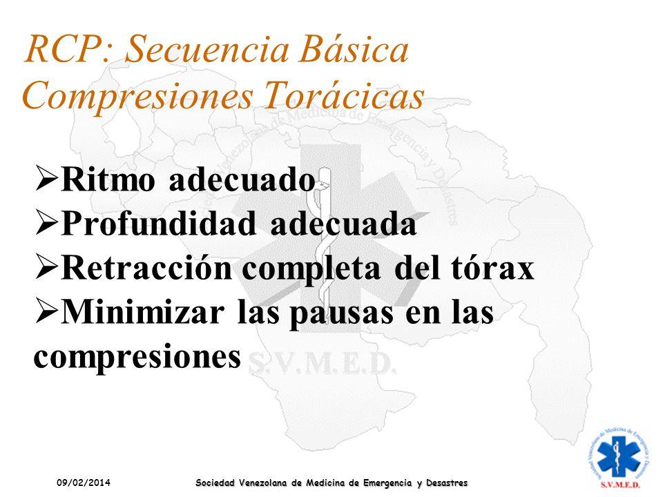 09/02/2014 Sociedad Venezolana de Medicina de Emergencia y Desastres Compresiones Torácicas RCP: Secuencia Básica Ritmo adecuado Profundidad adecuada