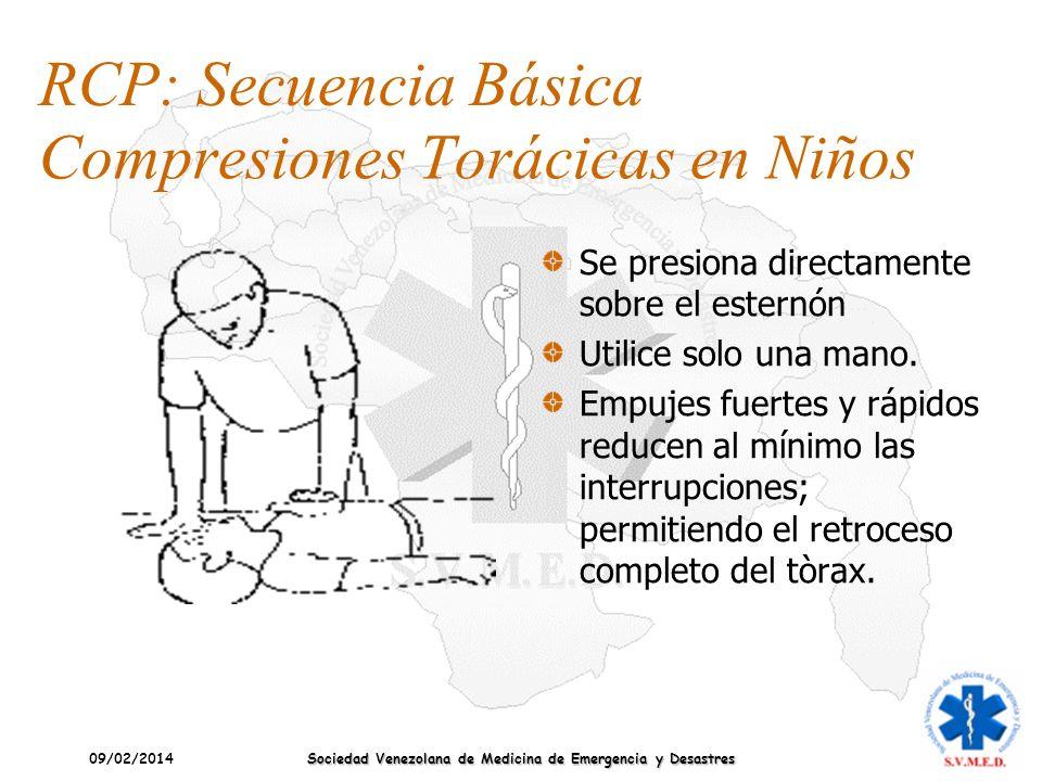 09/02/2014 Sociedad Venezolana de Medicina de Emergencia y Desastres Compresiones Torácicas en Niños Se presiona directamente sobre el esternón Utilic