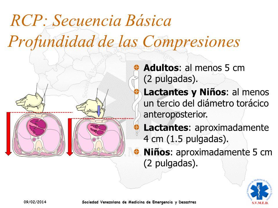 09/02/2014 Sociedad Venezolana de Medicina de Emergencia y Desastres Profundidad de las Compresiones Adultos: al menos 5 cm (2 pulgadas). Lactantes y