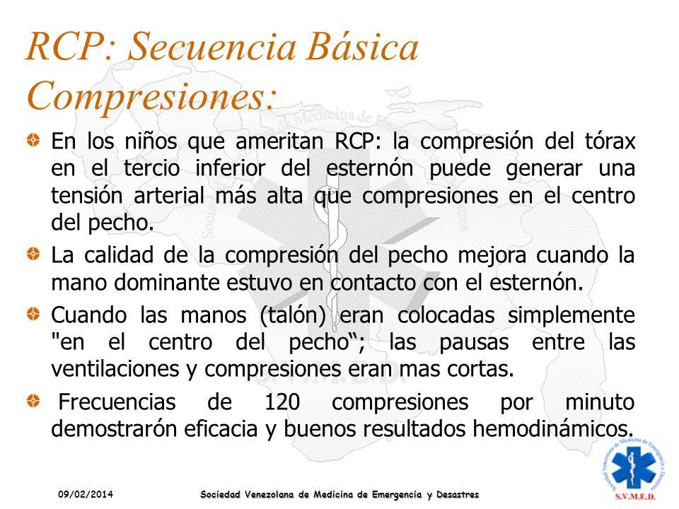 09/02/2014 Sociedad Venezolana de Medicina de Emergencia y Desastres En los niños que ameritan RCP: la compresión del tórax en el tercio inferior del