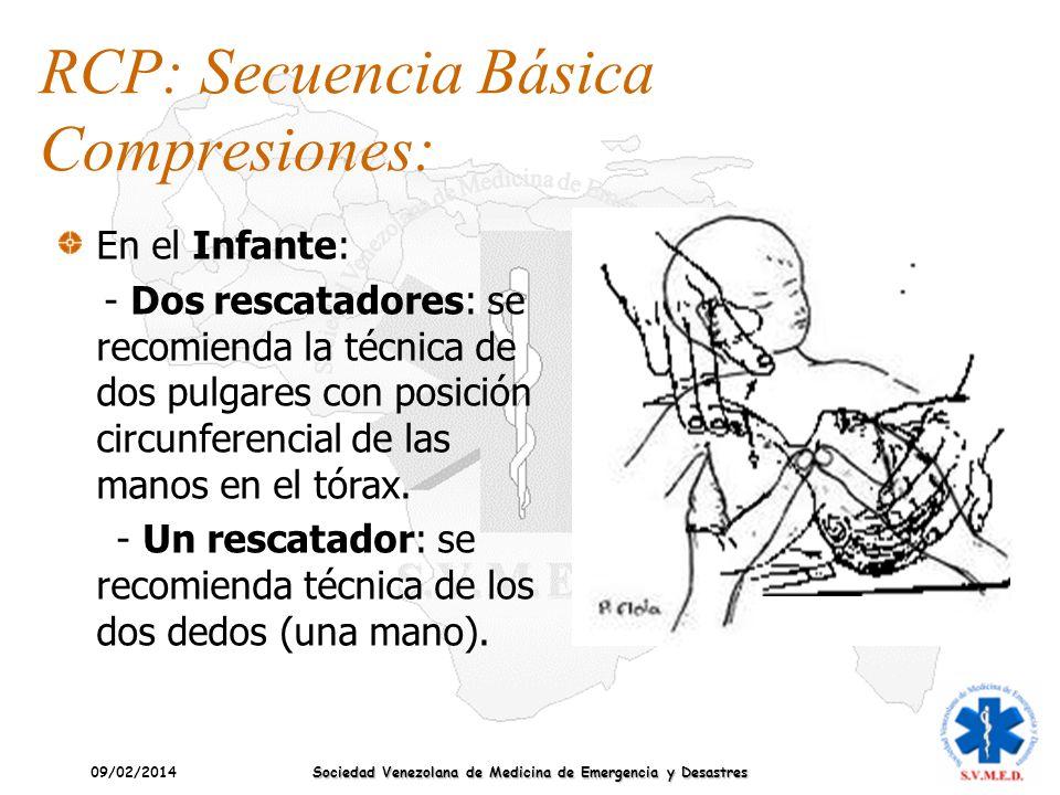 09/02/2014 Sociedad Venezolana de Medicina de Emergencia y Desastres En el Infante: - Dos rescatadores: se recomienda la técnica de dos pulgares con p