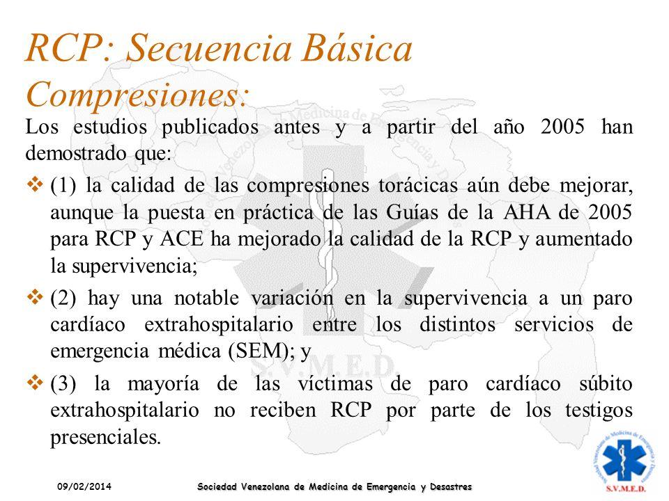 09/02/2014 Sociedad Venezolana de Medicina de Emergencia y Desastres Los estudios publicados antes y a partir del año 2005 han demostrado que: (1) la