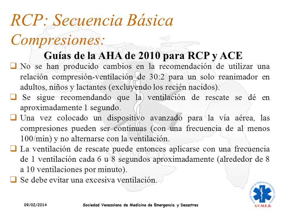 09/02/2014 Sociedad Venezolana de Medicina de Emergencia y Desastres RCP: Secuencia Básica Compresiones: Guías de la AHA de 2010 para RCP y ACE No se