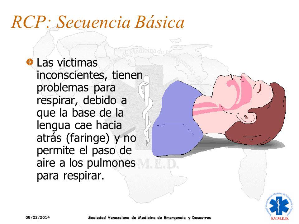 09/02/2014 Sociedad Venezolana de Medicina de Emergencia y Desastres Las victimas inconscientes, tienen problemas para respirar, debido a que la base