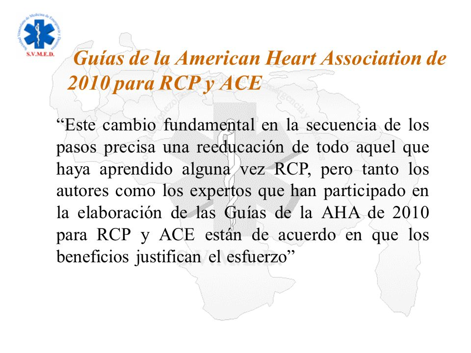 09/02/2014 Sociedad Venezolana de Medicina de Emergencia y Desastres Conclusiones/Recomendaciones ILCOR-AHA 2010 COMPRESIONES 2010 (nuevo): Es razonable que tanto los reanimadores legos como los profesionales de la salud realicen compresiones torácicas con una frecuencia de al menos 100/m.n El esternón de un adulto debe bajar al menos 2 pulgadas, 5 cm.