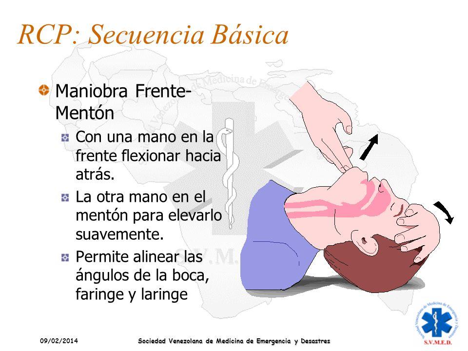 09/02/2014 Sociedad Venezolana de Medicina de Emergencia y Desastres Maniobra Frente- Mentón Con una mano en la frente flexionar hacia atrás. La otra