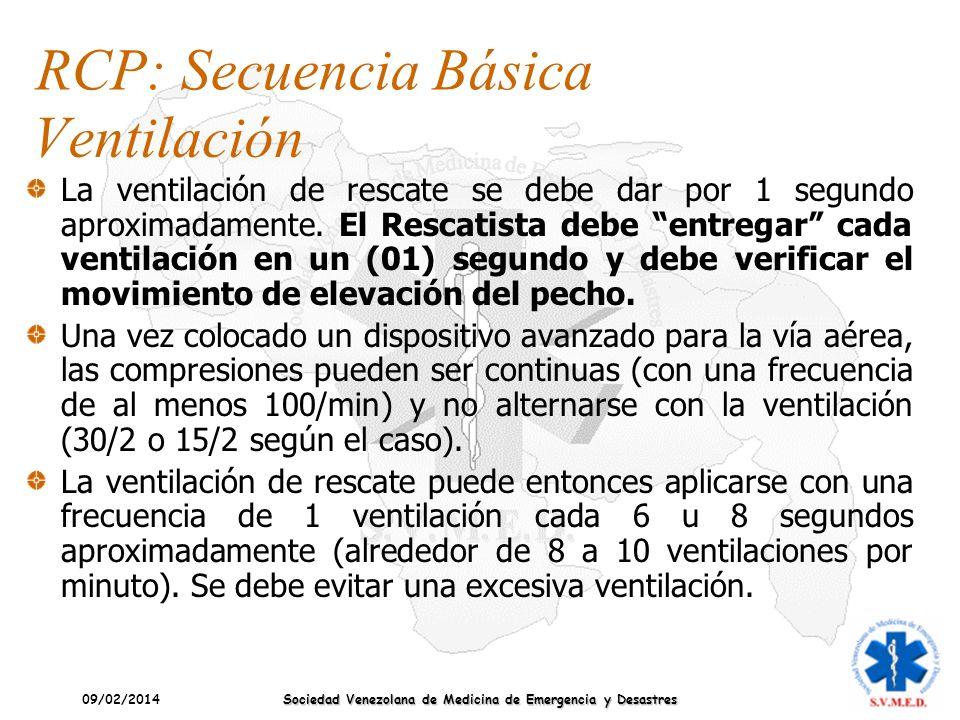09/02/2014 Sociedad Venezolana de Medicina de Emergencia y Desastres La ventilación de rescate se debe dar por 1 segundo aproximadamente. El Rescatist