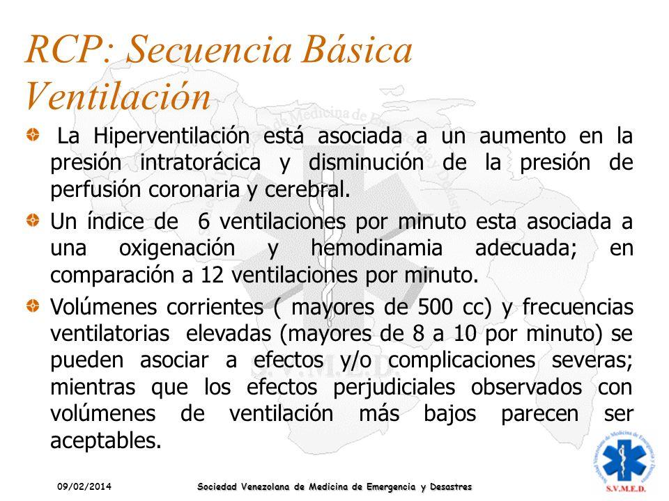 09/02/2014 Sociedad Venezolana de Medicina de Emergencia y Desastres RCP: Secuencia Básica Ventilación La Hiperventilación está asociada a un aumento