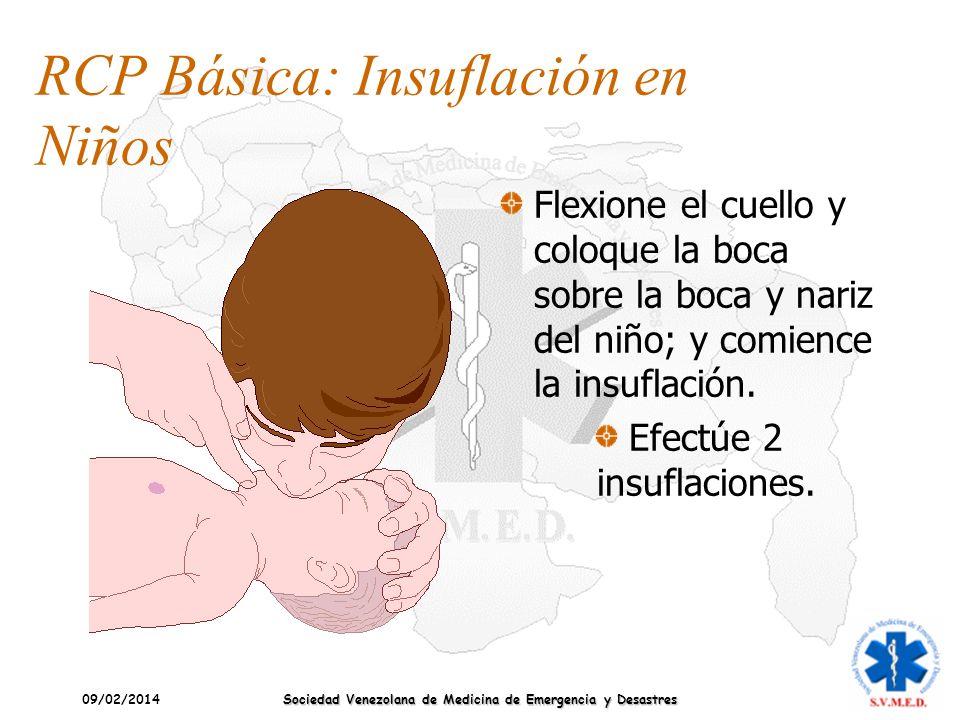 09/02/2014 Sociedad Venezolana de Medicina de Emergencia y Desastres RCP Básica: Insuflación en Niños Flexione el cuello y coloque la boca sobre la bo