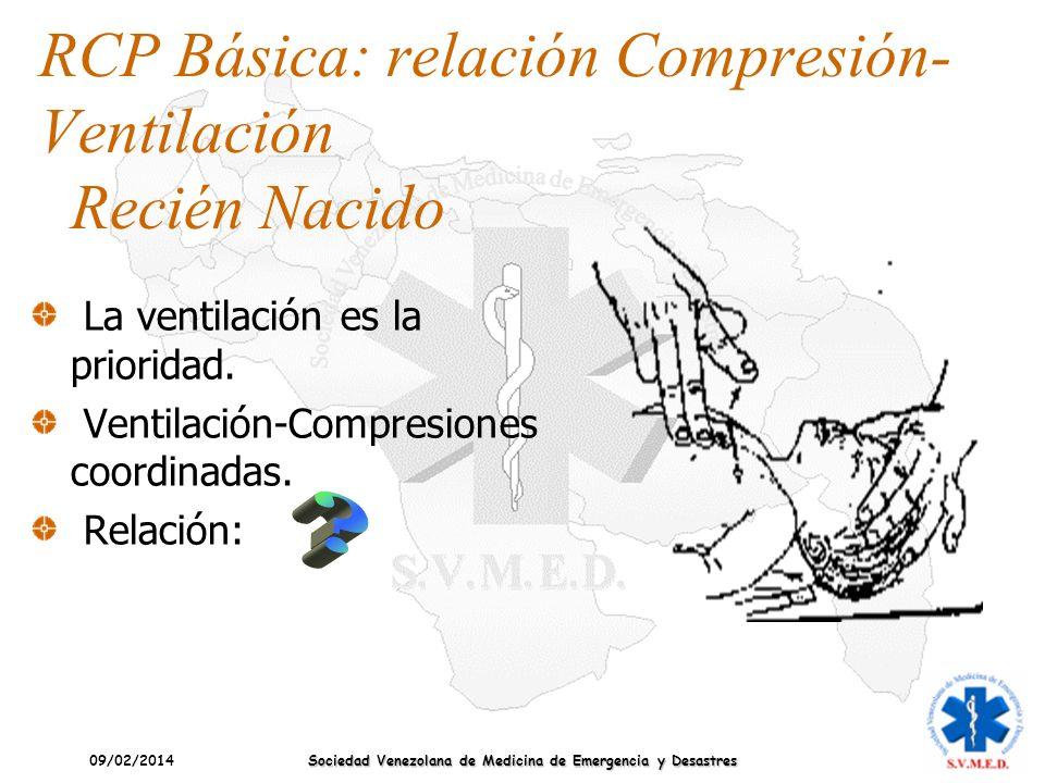 09/02/2014 Sociedad Venezolana de Medicina de Emergencia y Desastres RCP Básica: relación Compresión- Ventilación Recién Nacido La ventilación es la p