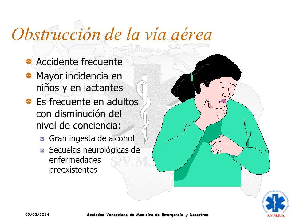 09/02/2014 Sociedad Venezolana de Medicina de Emergencia y Desastres Obstrucción de la vía aérea Conclusiones/Recomendaciones ILCOR-AHA 2010 Estas Maniobras se deben aplicar en secuencia rápida hasta que se resuelva la obstrucción.