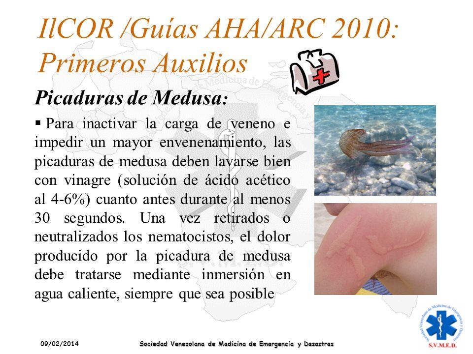 09/02/2014 Sociedad Venezolana de Medicina de Emergencia y Desastres IlCOR /Guías AHA/ARC 2010: Primeros Auxilios Picaduras de Medusa : Para inactivar