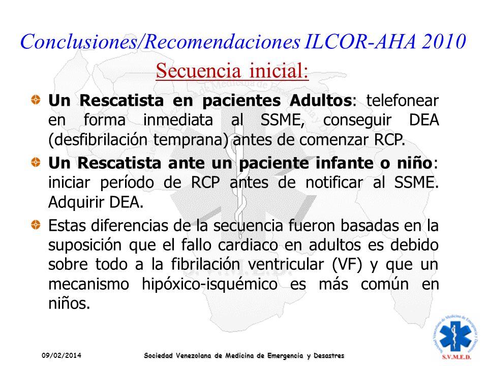 09/02/2014 Sociedad Venezolana de Medicina de Emergencia y Desastres Conclusiones/Recomendaciones ILCOR-AHA 2010 Secuencia inicial: Un Rescatista en p