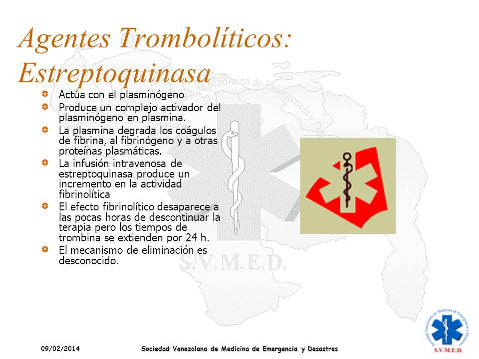 09/02/2014 Sociedad Venezolana de Medicina de Emergencia y Desastres Agentes Trombolíticos: Estreptoquinasa Actúa con el plasminógeno Produce un compl