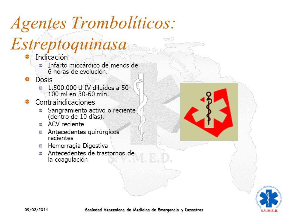 09/02/2014 Sociedad Venezolana de Medicina de Emergencia y Desastres Agentes Trombolíticos: Estreptoquinasa Indicación Infarto miocárdico de menos de