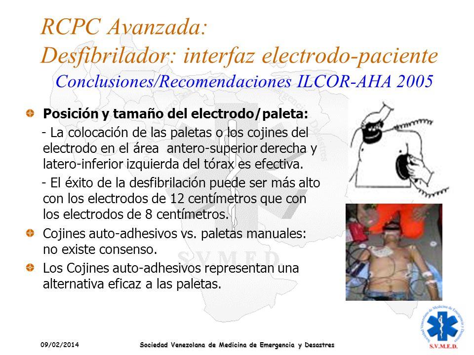 09/02/2014 Sociedad Venezolana de Medicina de Emergencia y Desastres RCPC Avanzada: Desfibrilador: interfaz electrodo-paciente Posición y tamaño del e