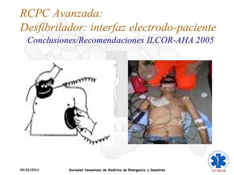 09/02/2014 Sociedad Venezolana de Medicina de Emergencia y Desastres RCPC Avanzada: Desfibrilador: interfaz electrodo-paciente Conclusiones/Recomendac