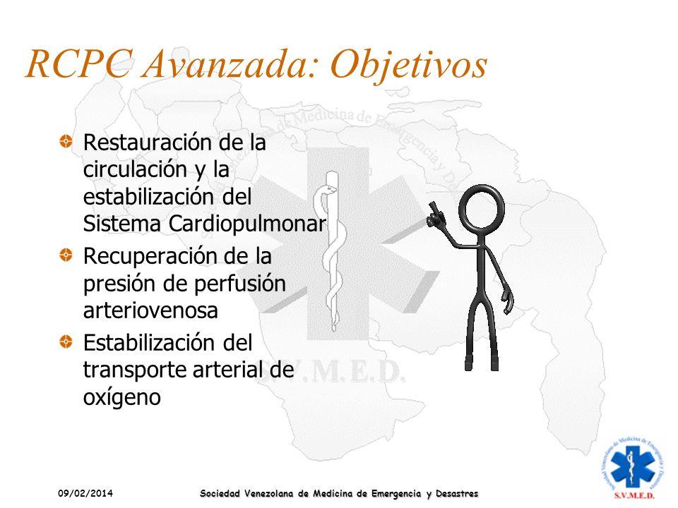 09/02/2014 Sociedad Venezolana de Medicina de Emergencia y Desastres RCPC Avanzada: Objetivos Restauración de la circulación y la estabilización del S