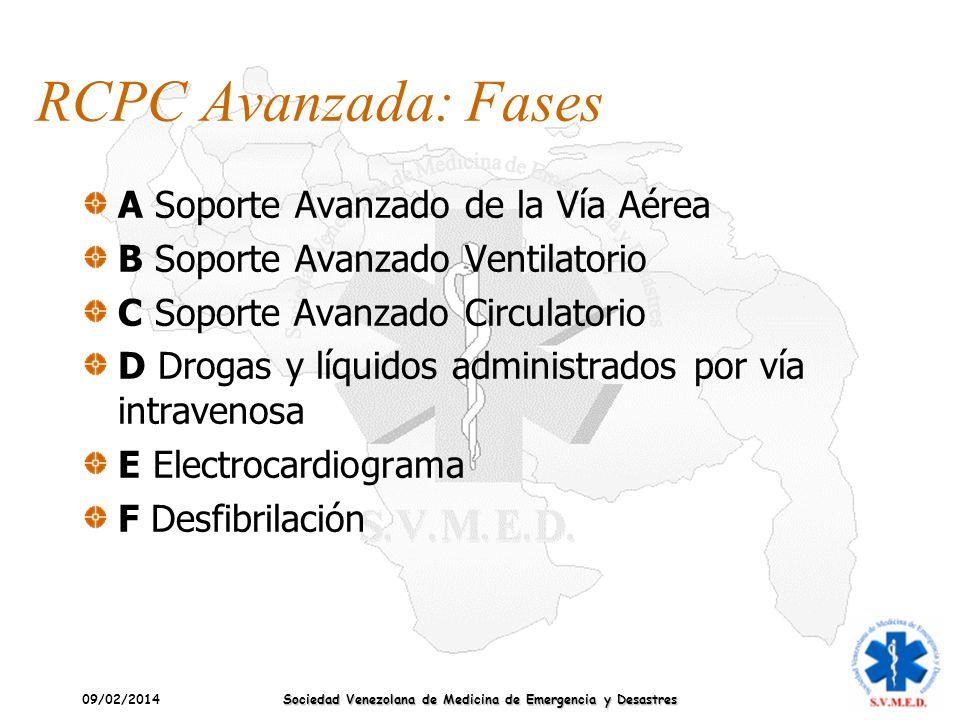 09/02/2014 Sociedad Venezolana de Medicina de Emergencia y Desastres RCPC Avanzada: Fases A Soporte Avanzado de la Vía Aérea B Soporte Avanzado Ventil