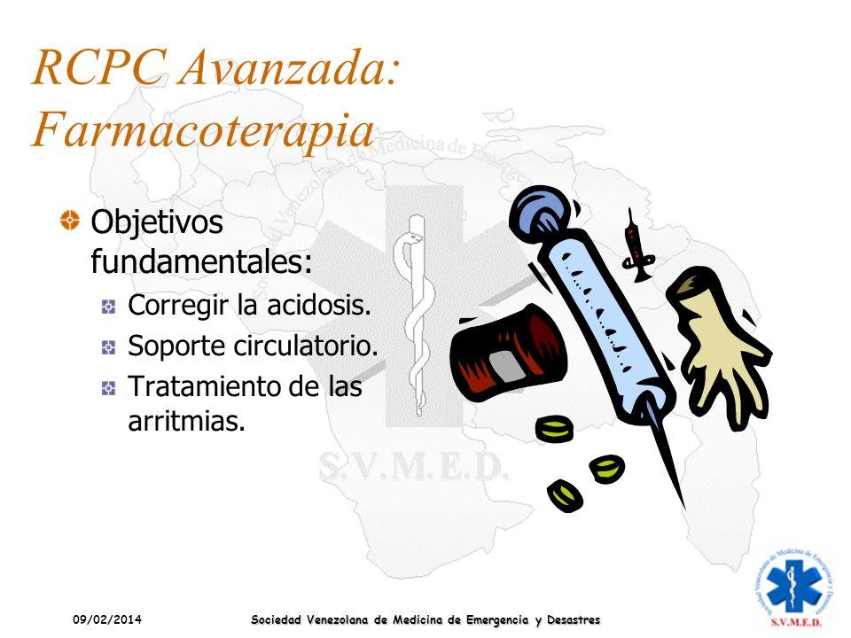 09/02/2014 Sociedad Venezolana de Medicina de Emergencia y Desastres RCPC Avanzada: Farmacoterapia Objetivos fundamentales: Corregir la acidosis. Sopo