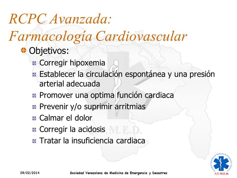 09/02/2014 Sociedad Venezolana de Medicina de Emergencia y Desastres RCPC Avanzada: Farmacología Cardiovascular Objetivos: Corregir hipoxemia Establec
