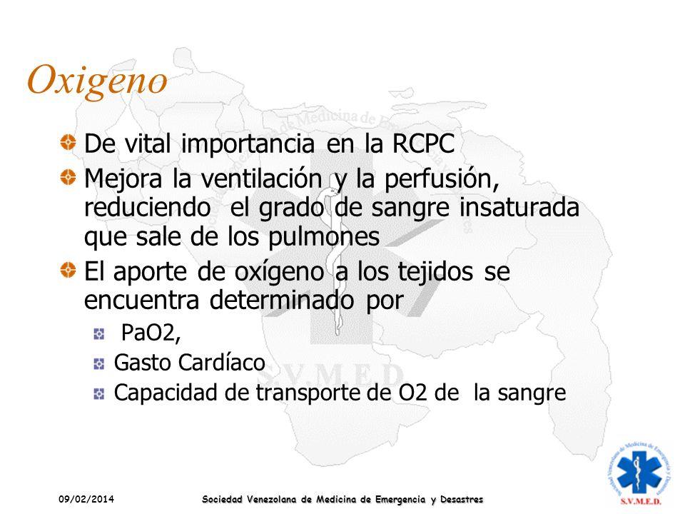 09/02/2014 Sociedad Venezolana de Medicina de Emergencia y Desastres Oxigeno De vital importancia en la RCPC Mejora la ventilación y la perfusión, red