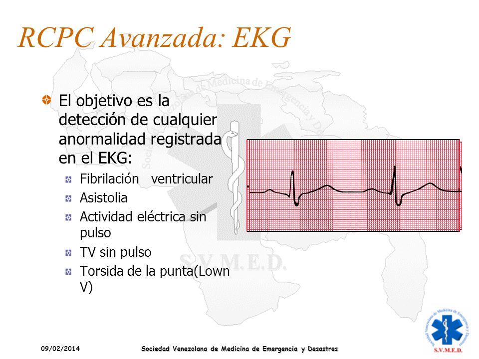 09/02/2014 Sociedad Venezolana de Medicina de Emergencia y Desastres RCPC Avanzada: EKG El objetivo es la detección de cualquier anormalidad registrad