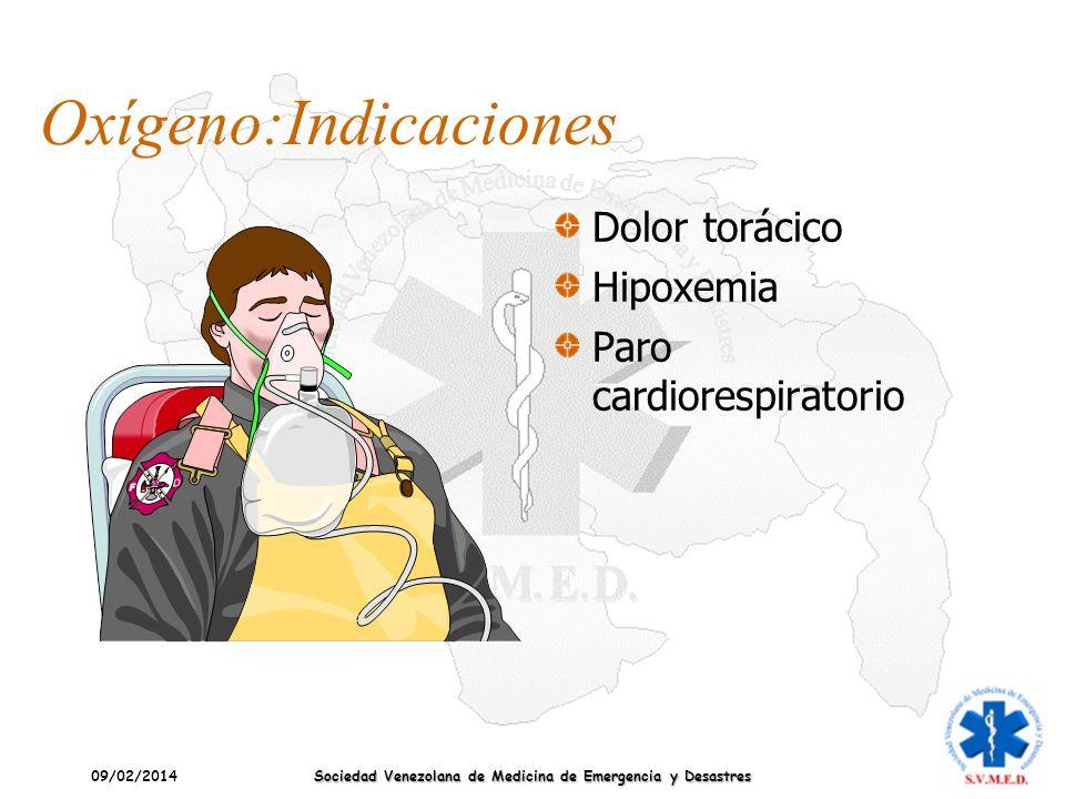 09/02/2014 Sociedad Venezolana de Medicina de Emergencia y Desastres Oxígeno:Indicaciones Dolor torácico Hipoxemia Paro cardiorespiratorio
