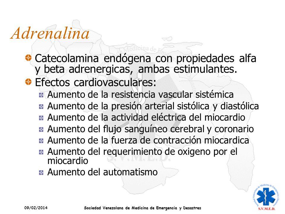 09/02/2014 Sociedad Venezolana de Medicina de Emergencia y Desastres Adrenalina Catecolamina endógena con propiedades alfa y beta adrenergicas, ambas