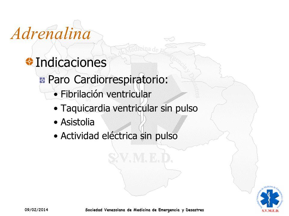 09/02/2014 Sociedad Venezolana de Medicina de Emergencia y Desastres Adrenalina Indicaciones Paro Cardiorrespiratorio: Fibrilación ventricular Taquica