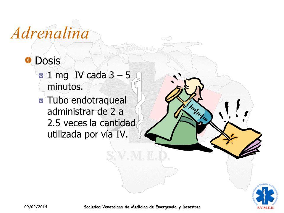 09/02/2014 Sociedad Venezolana de Medicina de Emergencia y Desastres Adrenalina Dosis 1 mg IV cada 3 – 5 minutos. Tubo endotraqueal administrar de 2 a