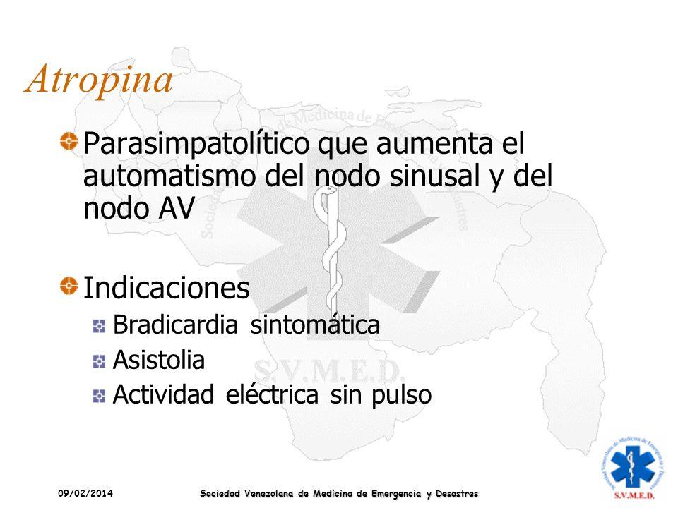 09/02/2014 Sociedad Venezolana de Medicina de Emergencia y Desastres Atropina Parasimpatolítico que aumenta el automatismo del nodo sinusal y del nodo