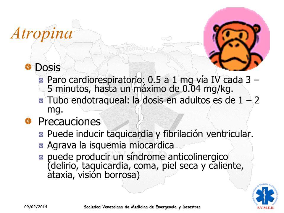 09/02/2014 Sociedad Venezolana de Medicina de Emergencia y Desastres Atropina Dosis Paro cardiorespiratorio: 0.5 a 1 mg vía IV cada 3 – 5 minutos, has