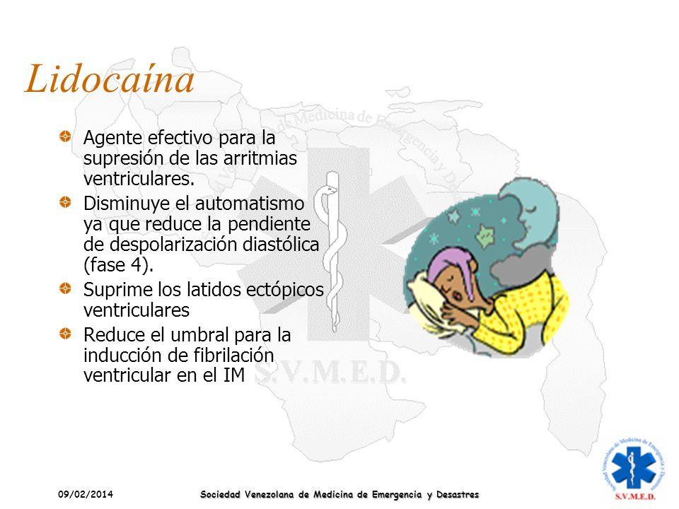 09/02/2014 Sociedad Venezolana de Medicina de Emergencia y Desastres Lidocaína Agente efectivo para la supresión de las arritmias ventriculares. Dismi