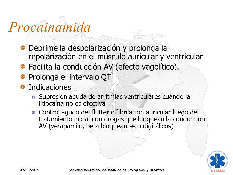 09/02/2014 Sociedad Venezolana de Medicina de Emergencia y Desastres Procainamida Deprime la despolarización y prolonga la repolarización en el múscul