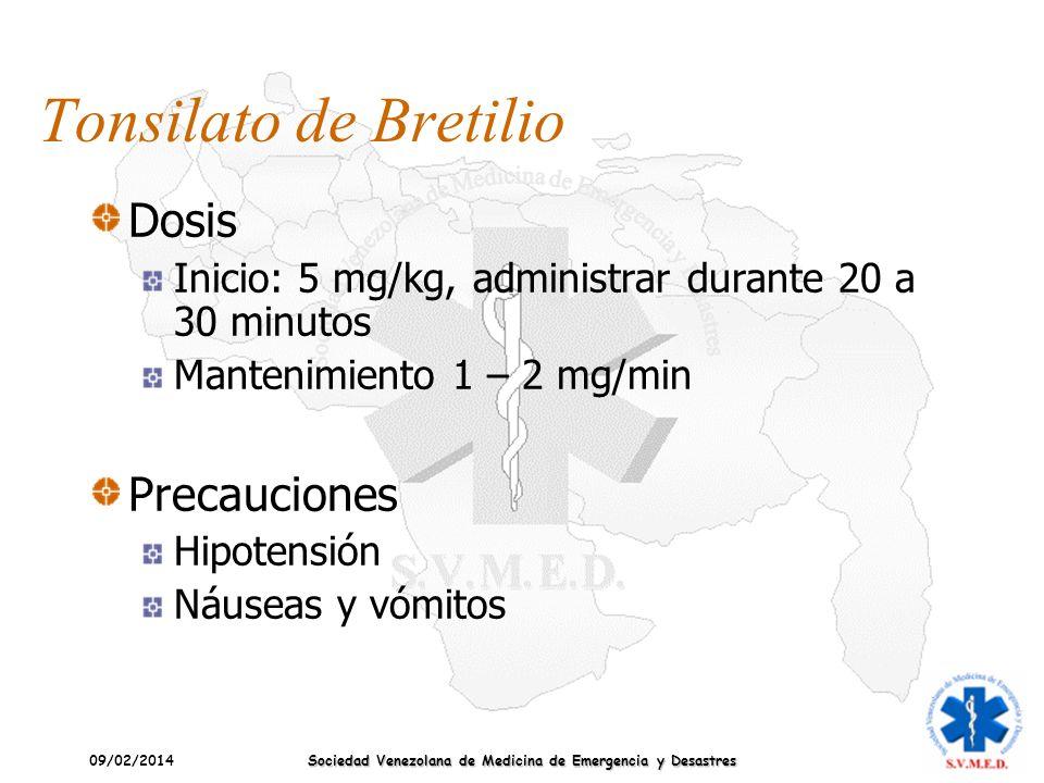 09/02/2014 Sociedad Venezolana de Medicina de Emergencia y Desastres Tonsilato de Bretilio Dosis Inicio: 5 mg/kg, administrar durante 20 a 30 minutos