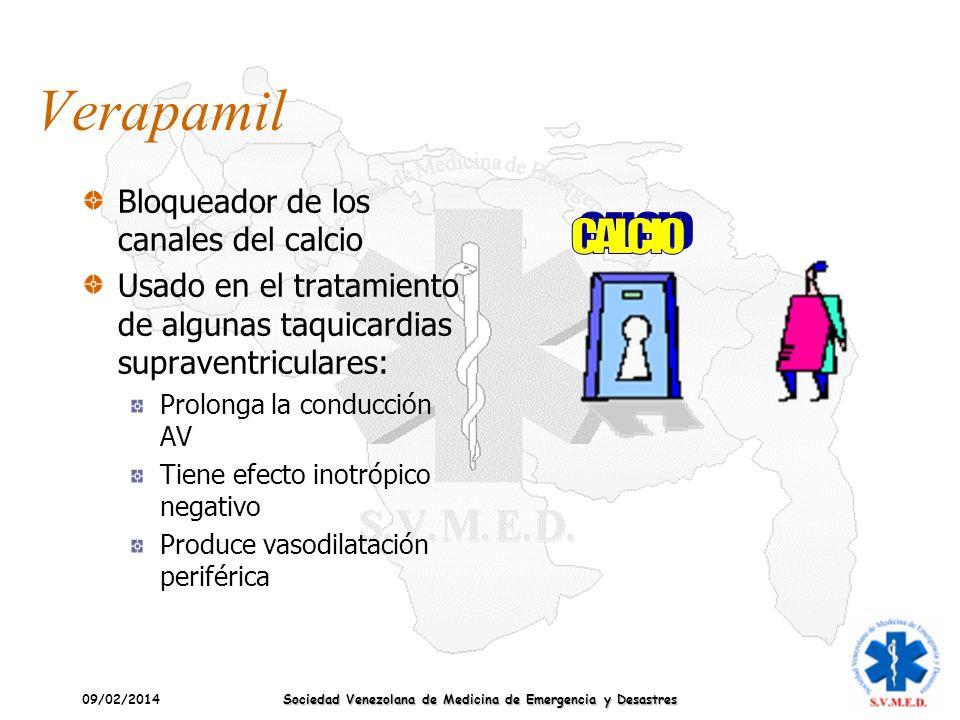 09/02/2014 Sociedad Venezolana de Medicina de Emergencia y Desastres Verapamil Bloqueador de los canales del calcio Usado en el tratamiento de algunas