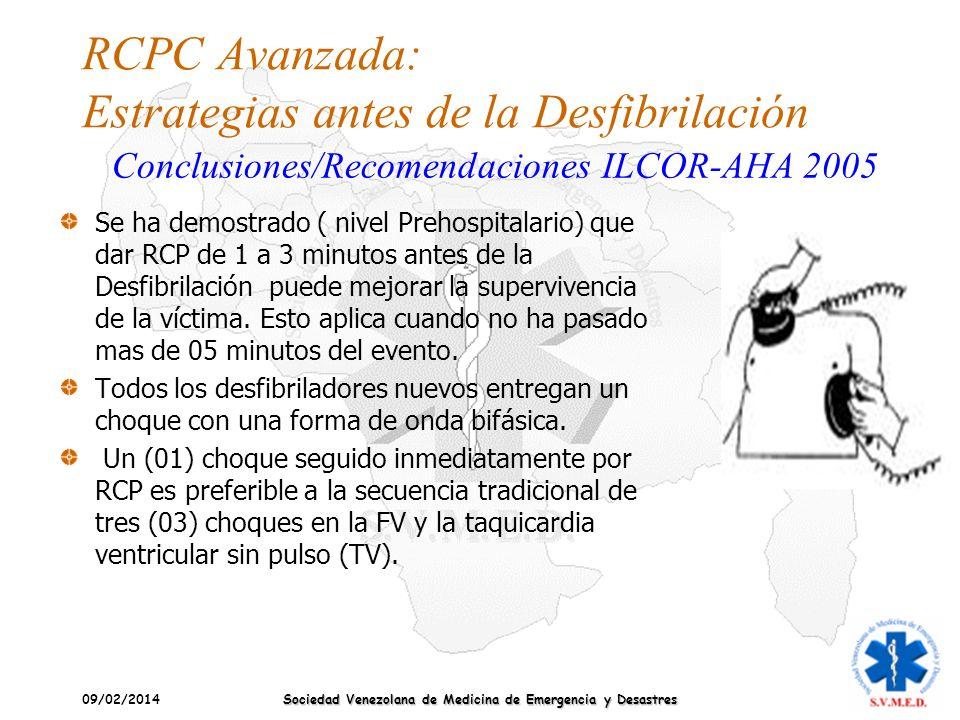 09/02/2014 Sociedad Venezolana de Medicina de Emergencia y Desastres RCPC Avanzada: Estrategias antes de la Desfibrilación Se ha demostrado ( nivel Pr