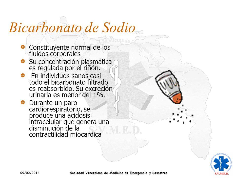 09/02/2014 Sociedad Venezolana de Medicina de Emergencia y Desastres Bicarbonato de Sodio Constituyente normal de los fluidos corporales Su concentrac