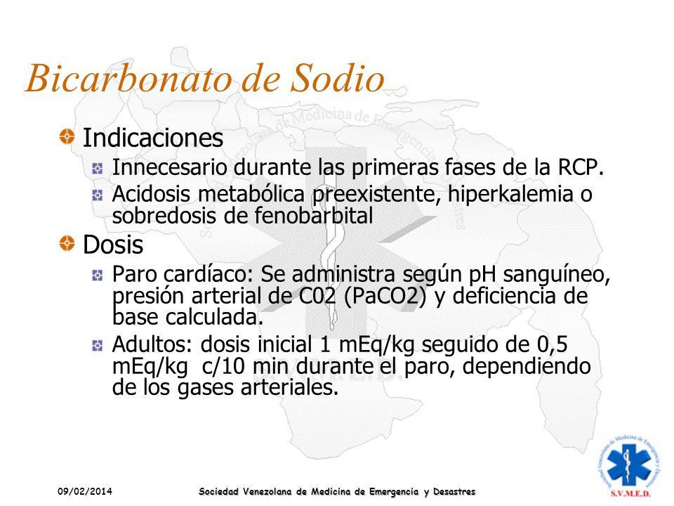 09/02/2014 Sociedad Venezolana de Medicina de Emergencia y Desastres Bicarbonato de Sodio Indicaciones Innecesario durante las primeras fases de la RC