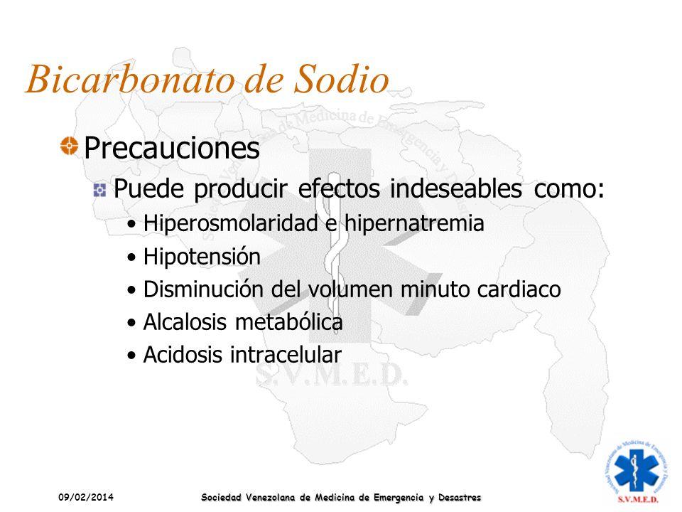 09/02/2014 Sociedad Venezolana de Medicina de Emergencia y Desastres Bicarbonato de Sodio Precauciones Puede producir efectos indeseables como: Hipero