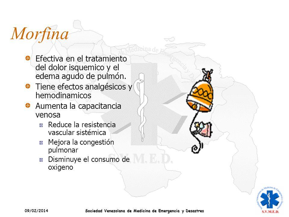 09/02/2014 Sociedad Venezolana de Medicina de Emergencia y Desastres Morfina Efectiva en el tratamiento del dolor isquemico y el edema agudo de pulmón