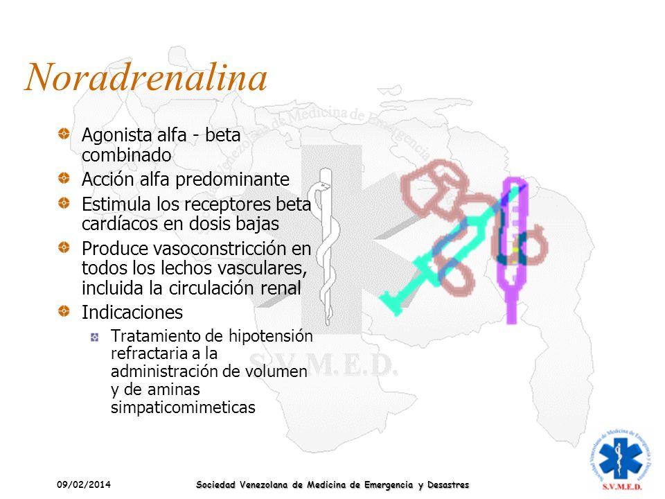 09/02/2014 Sociedad Venezolana de Medicina de Emergencia y Desastres Noradrenalina Agonista alfa - beta combinado Acción alfa predominante Estimula lo