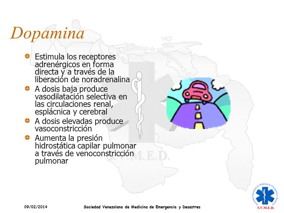 09/02/2014 Sociedad Venezolana de Medicina de Emergencia y Desastres Dopamina Estimula los receptores adrenérgicos en forma directa y a través de la l