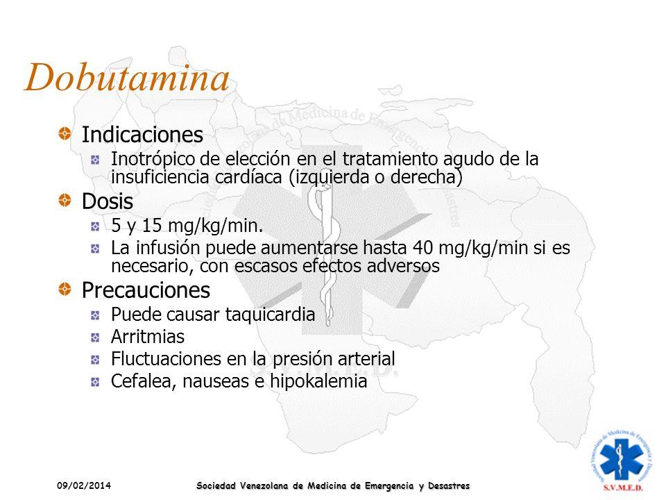 09/02/2014 Sociedad Venezolana de Medicina de Emergencia y Desastres Dobutamina Indicaciones Inotrópico de elección en el tratamiento agudo de la insu