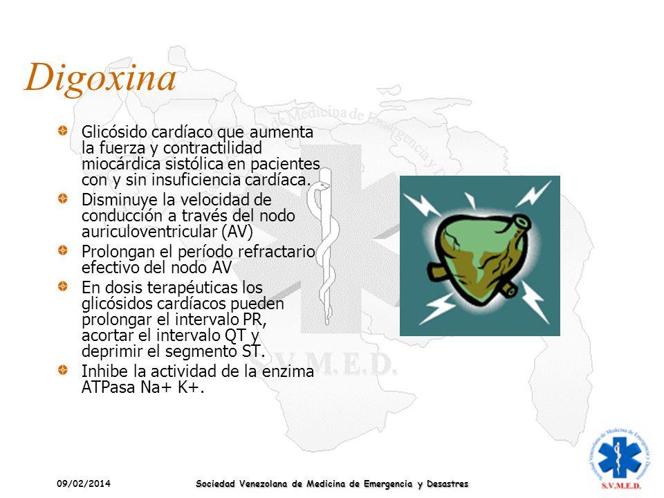 09/02/2014 Sociedad Venezolana de Medicina de Emergencia y Desastres Digoxina Glicósido cardíaco que aumenta la fuerza y contractilidad miocárdica sis
